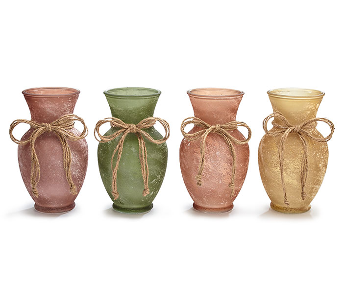 GLASS VASES FALL FROSTED WITH TWINE