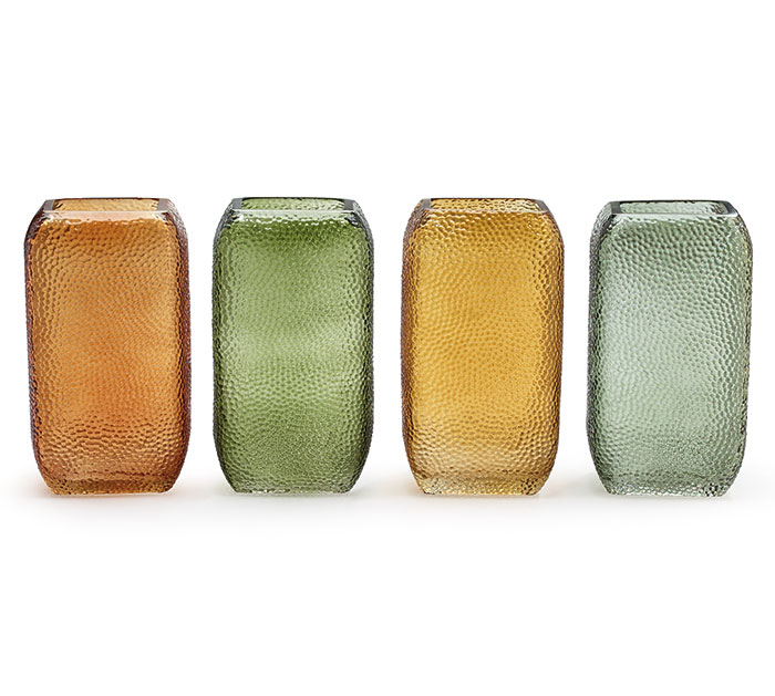 GLASS VASE SQUARE TEXTURED SHAPE FALL