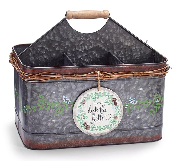 LARGE TIN CADDY WITH DECK THE HALLS