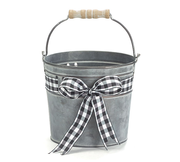 BLACK  WHITE GINGHAM BOW TIN PAIL