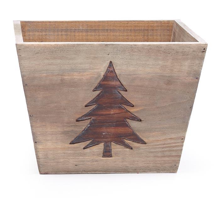 "6"" WOOD CHRISTMAS TREE PLANTER"