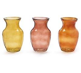 GINGER JAR SHAPE GLASS VASE FALL COLORS
