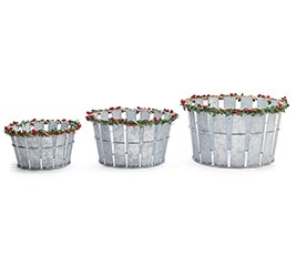 NESTED PLANTER SET WITH BERRIES  HOLLY
