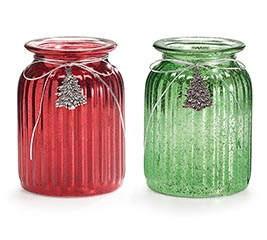 VASE GLASS RED/GREEN WITH SILVER TREES