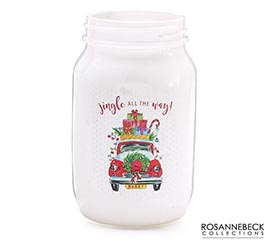 CHRISTMAS TRUCK DESIGN QUART MASON JAR