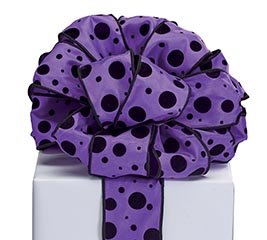 #40 PURPLE WITH VELVET BLACK DOTS RIBBON