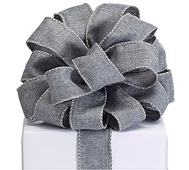 DARK GRAY TWILL RIBBON WITH WIRED EDGE