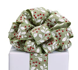 RIBBON #40 WHITE HOLLY GREEN FABRIC