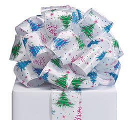 RIBBON #40 BRIGHT TREES ON WHITE SATIN