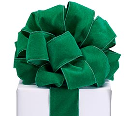 #40 GREEN VELVET WIRED RIBBON