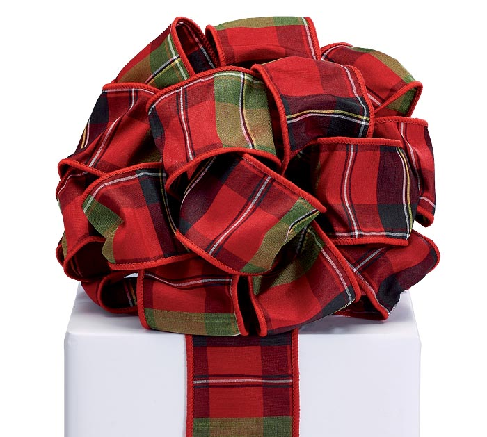 #40 PLAID GREEN  RED WIRED RIBBON