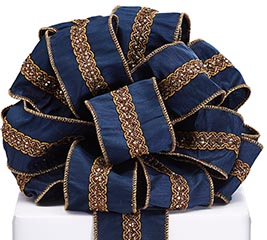 #40 NAVY RIBBON WITH GOLD EMBELLISHMENT