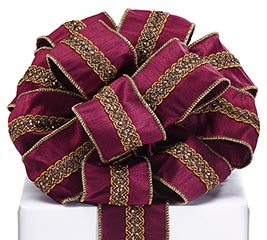 #40 BURGUNDY RIBBON WITH GOLD EMBELLISH