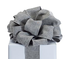 RIBBON #40 CHARCOAL GRAY TWILL WIRED