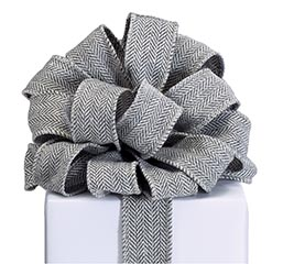 RIBBON #9 CHARCOAL GRAY TWILL WIRED