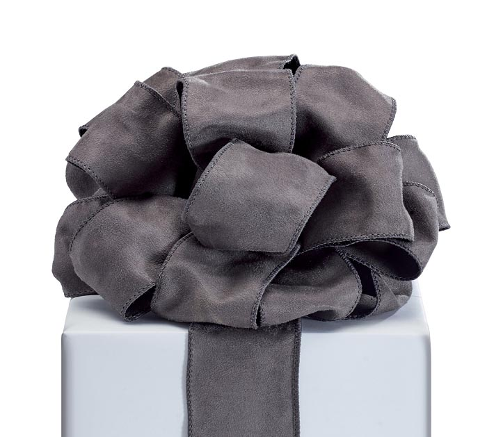 RIBBON #40 CHARCOAL SUEDE WIRED EDGE