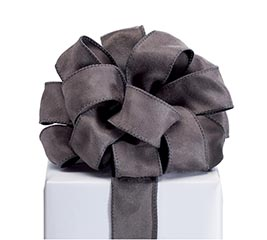 RIBBON #9 CHARCOAL SUEDE WIRED EDGE