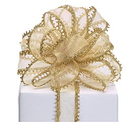RIBBON #9 SHEER GOLD DECORATIVE EDGE