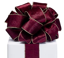 RIBBON #40 BURGUNDY VELVET GOLD EDGE