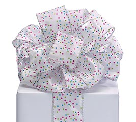 #40 BRIGHT CONFETTI DOTS WIRED RIBBON
