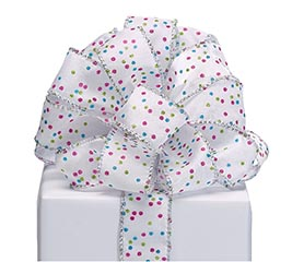 RIBBON #9 BRIGHT CONFETTI DOTS WIRED
