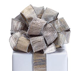 RIBBON #9 TEXTURED SILVER OVER KHAKI