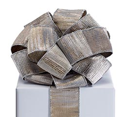 RIBBON #40 TEXTURED SILVER OVER KHAKI