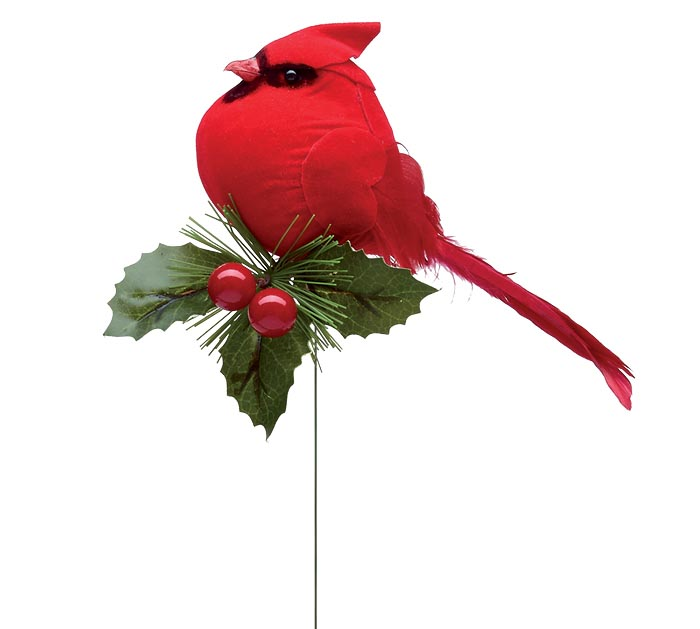 """11"""" CHUBBY CARDINAL ON PICK WITH HOLLY"""