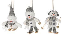 SNOWMAN ON SKIS ORNAMENT ASSORTED