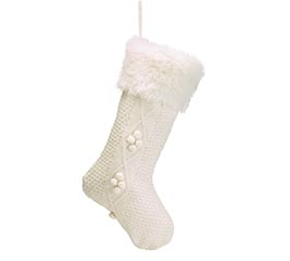 WHITE KNIT STOCKING WITH FUR CUFF