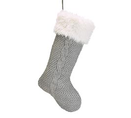 GRAY KNIT STOCKING WITH WHITE FUR CUFF