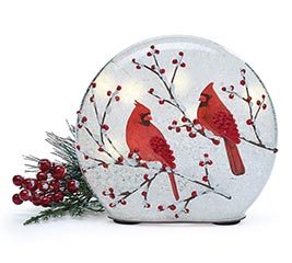 LIGHT UP ROUND DOME WITH RED CARDINALS