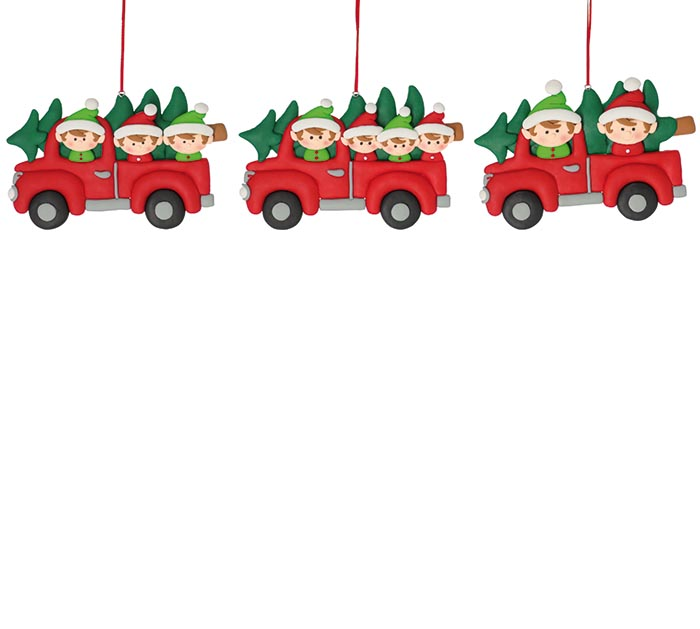 ELVES IN RED TRUCK CLAY DOUGH ORNAMENTS