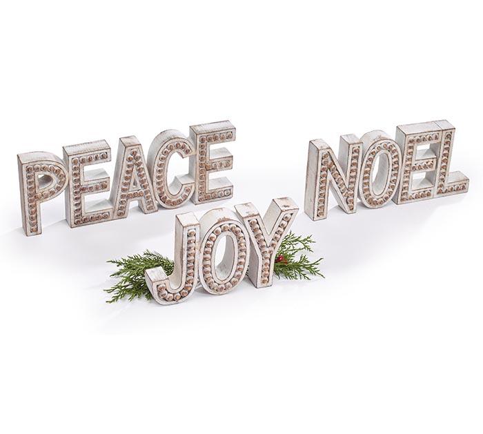 NOEL, PEACE, JOY INDIVIDUAL SHELF SITTER