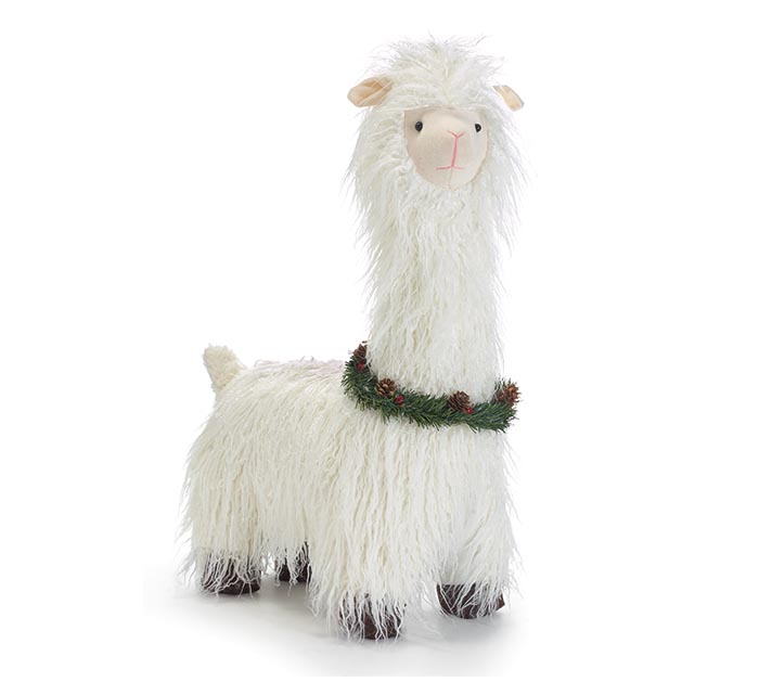 "23"" STANDING LLAMA WITH CHRISTMAS WREATH"