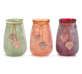 FROSTED FALL COLORS GLASS VASE