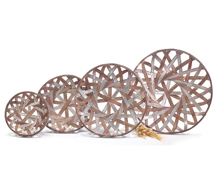 NESTED ROUND METAL  WOOD STRIP BASKET