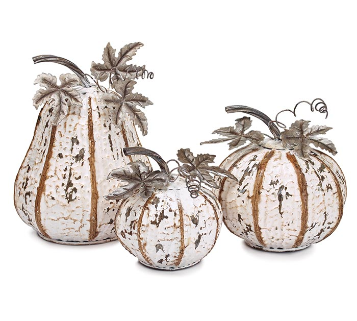 DISTRESSED WHITE TIN PUMPKIN SET