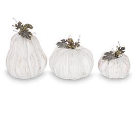 WHITE WITH BRUSHED GOLD PUMPKINS