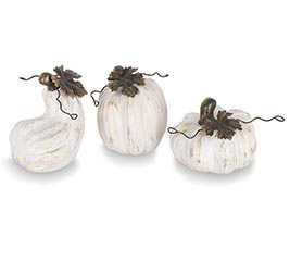 WHITE WITH GOLD BRUSHING PUMPKIN DECOR