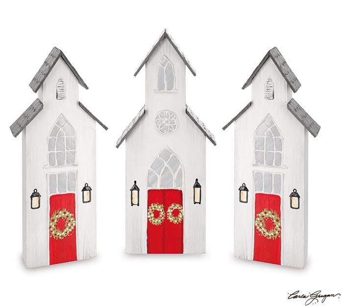 CHRISTMAS CHURCH SHELF SITTER SET