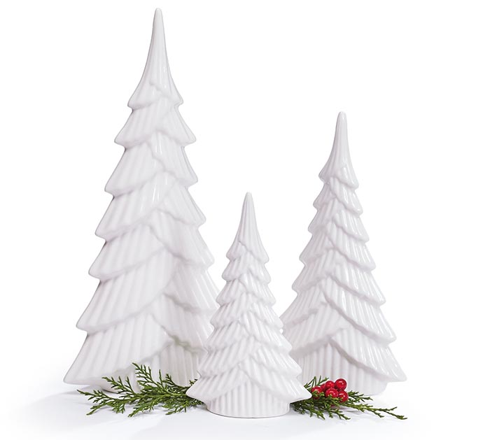 WHITE ASSORTED SIZE CHRISTMAS TREES