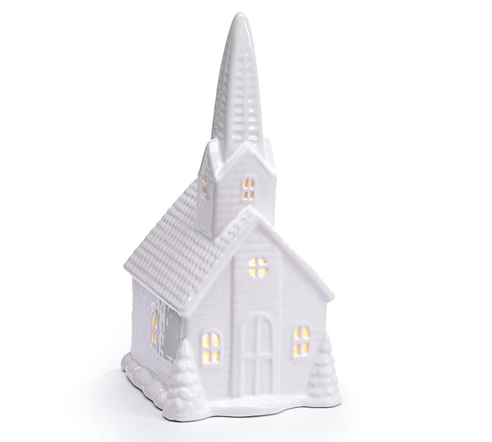 SMALL LIGHTED WHITE PORCELAIN CHURCH