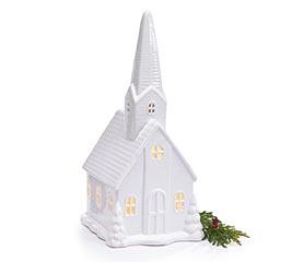 LARGE LIGHTED WHITE PORCELAIN CHURCH