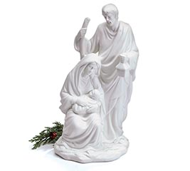 SOLID WHITE HOLY FAMILY FIGURINE