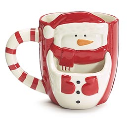 SNOWMAN FRONT HOLDS COOKIE MUG
