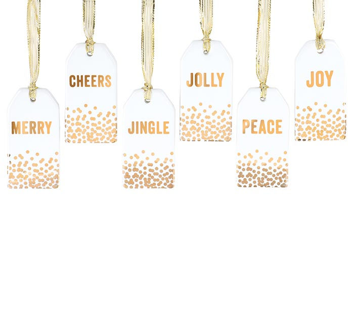 GOLD MESSAGE TAG ORNAMENTS WITH DOTS