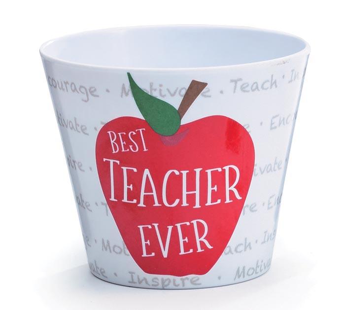 """4"""" BEST TEACHER EVER MELAMINE POT COVER"""