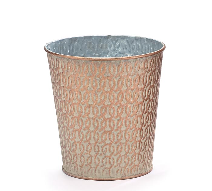 CREAM WITH COPPER BRUSHING POT COVER