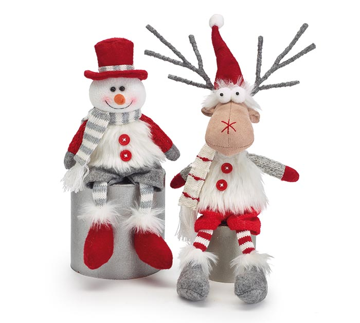 SNOWMAN AND REINDEER SHELF SITTERS